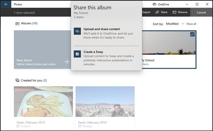 Share Photos App Album Windows
