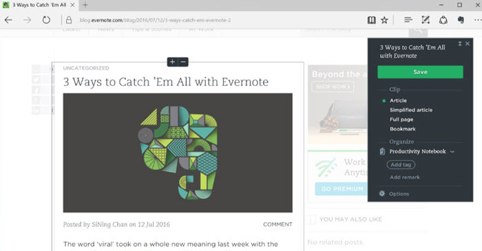 Download Evernote Extension for Microsoft Edge