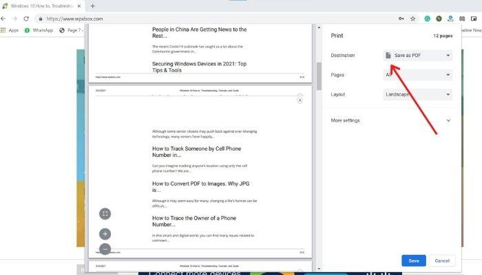 Save Webpage as PDF Chrome