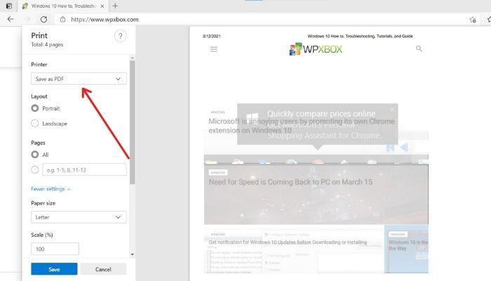 Save Webpage as PDF Microsoft Edge