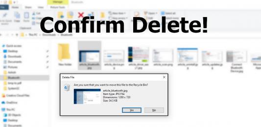 Delete Confirmation Dialogue Box Windows
