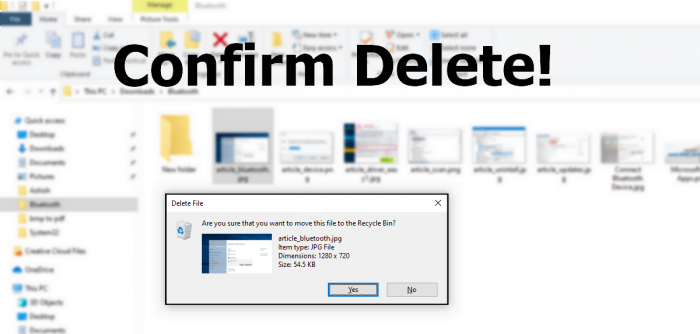 Delete Confirmation Dialogue Box Windows