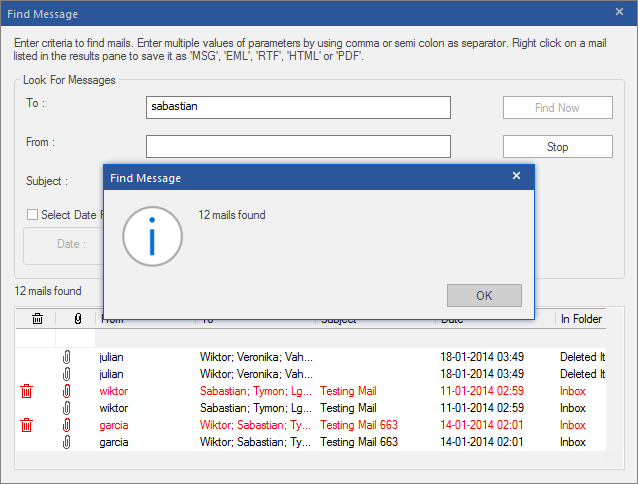 Find Emails in PST File