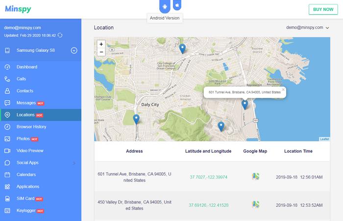Minspy Cell Phone Location Tracker
