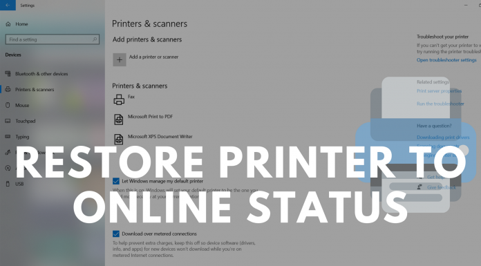 Restore Printer to Online