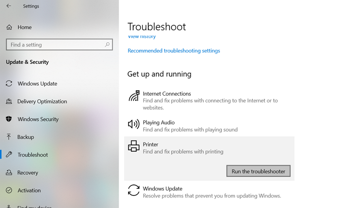 Troubleshoot Printer Issue in Windows 10