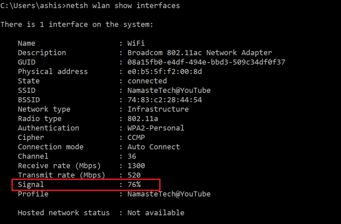 Wifi Signal Strength Command Prompt