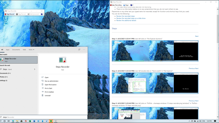 Windows Built-in Steps recorder