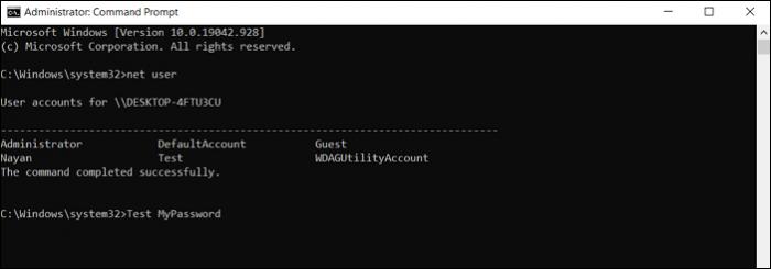 change password using command prompt