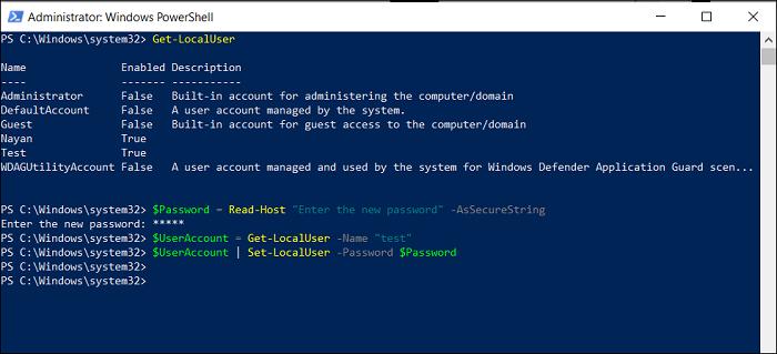 change password windows account PowerShell