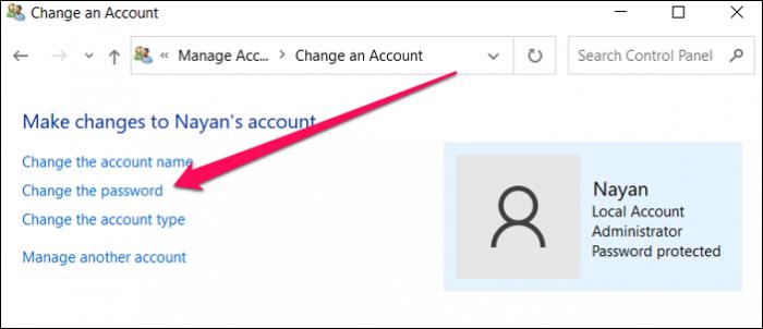 change the password user account