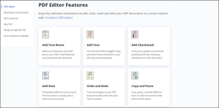CocoDOC PDF Editor Features