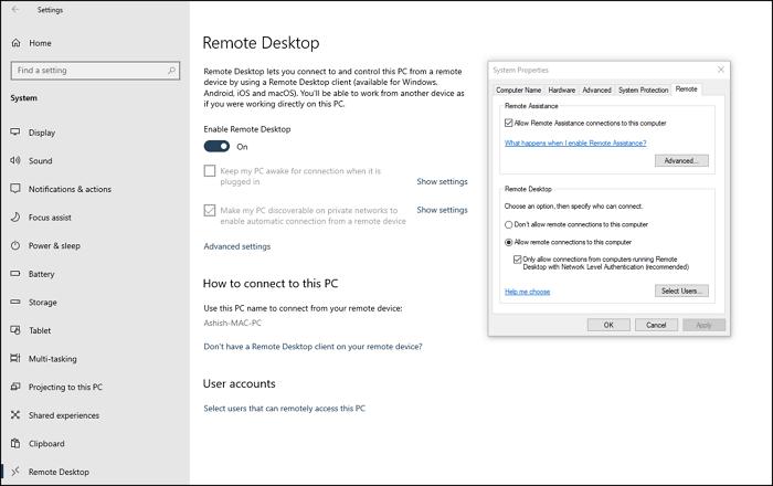 Enable Disable Remote Desktop Settings