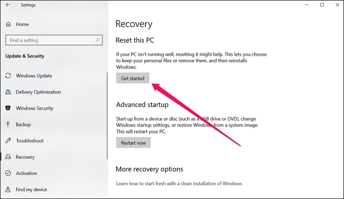 Reset Windows PC Recovery Settings