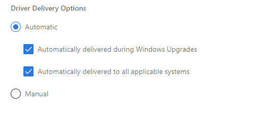 Windows Driver Delivery Options