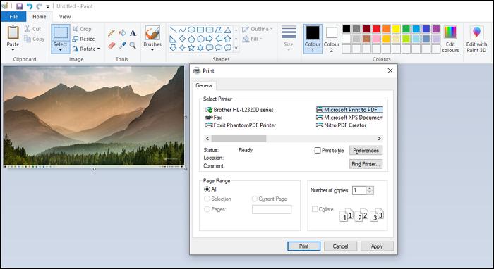 mspaint screenshot to pdf