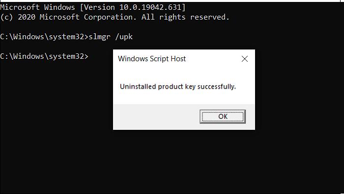 remove Windows product key command prom