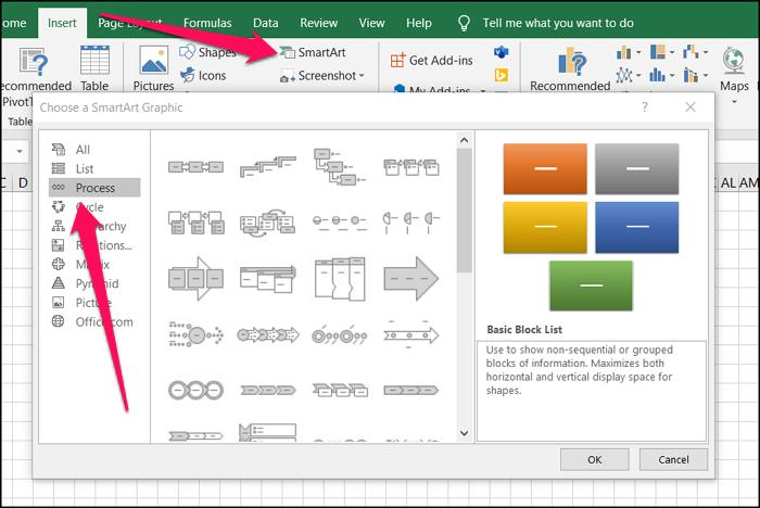 Add SmartArt to Excel