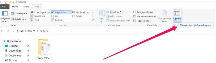 Compact Mode folder options