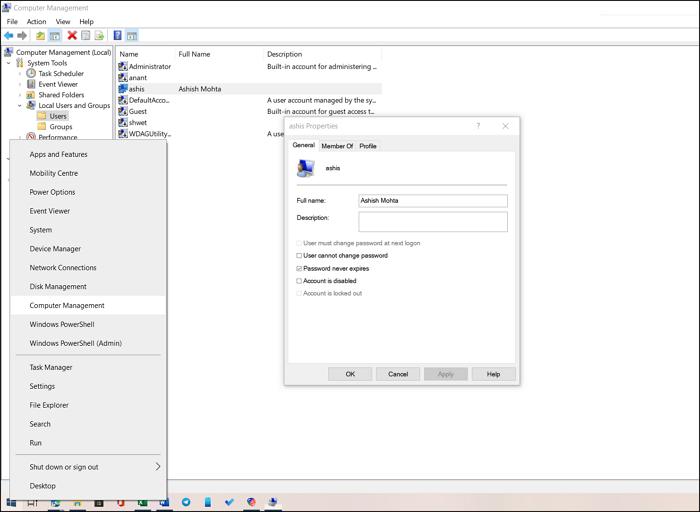 Computer Manager Windows Power Menu
