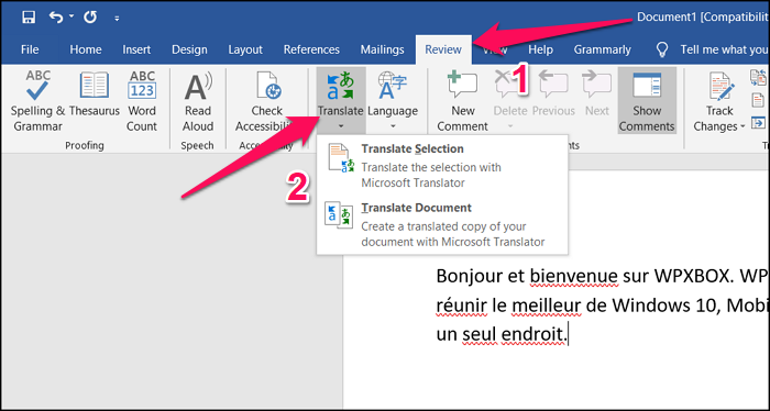 Find and Select Translate Tool Word