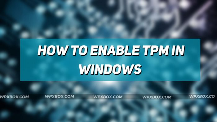 How to Enable TPM in Windows PC