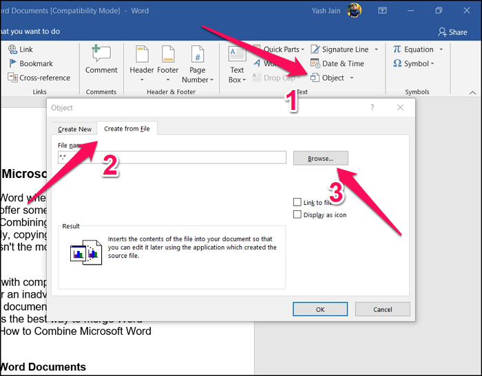Insert Word Document - Object Tool