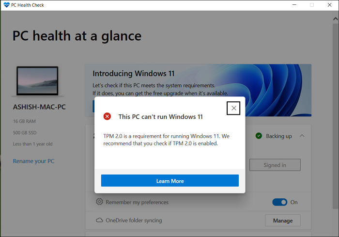 PC Health Check App Exact Reason Windows 11 Upgrade