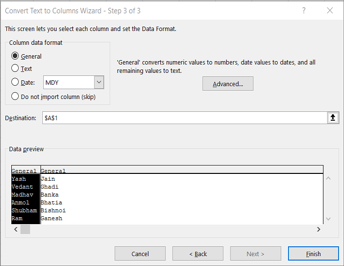 Text to Column Feature Step 3 Excel
