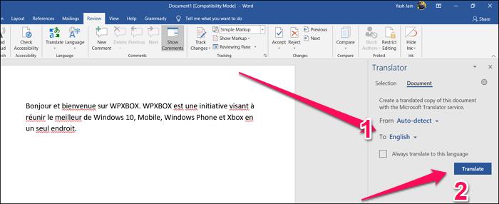 Translate Whole Document Word