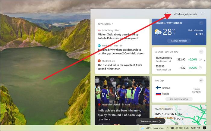 Windows News Interest Taskbar