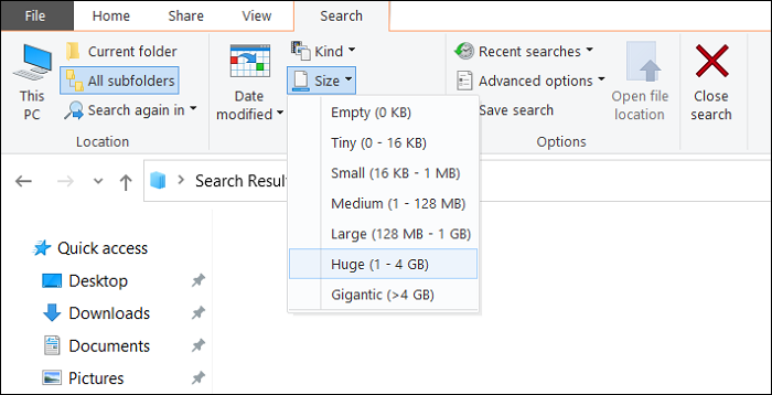 select search size largest file