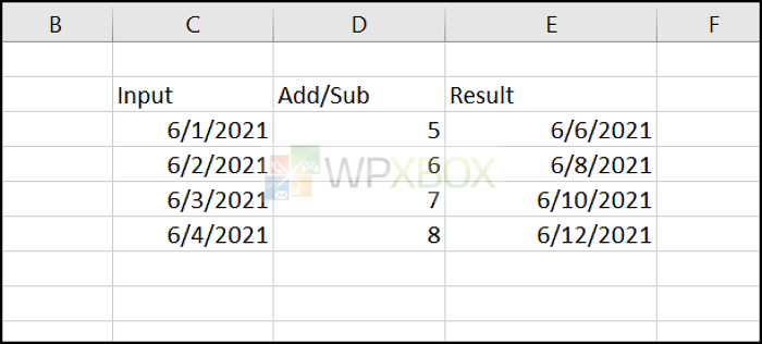Add Subract Date Excel
