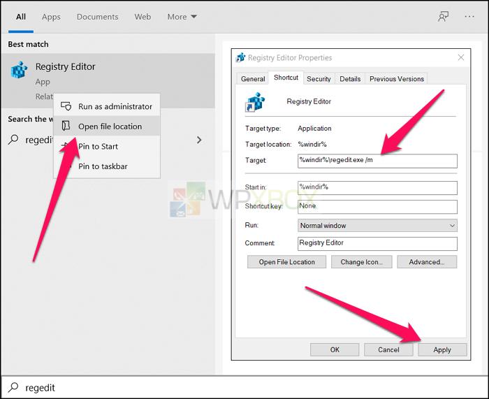 Change Target URI Registry Editor for multiple instances