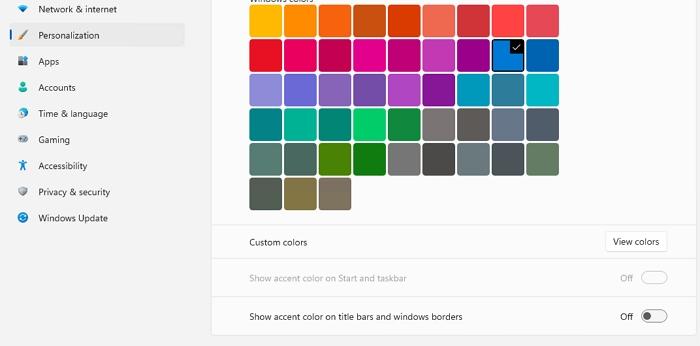 Custom Color Start Taskbar