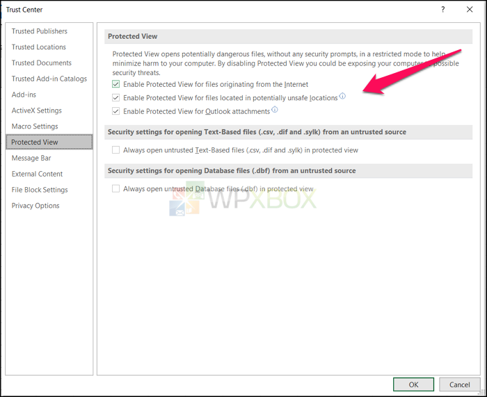 Disable Protected View Excel