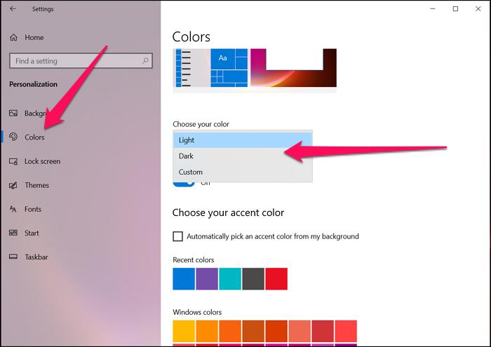 Enable Dark Mode Windows 10