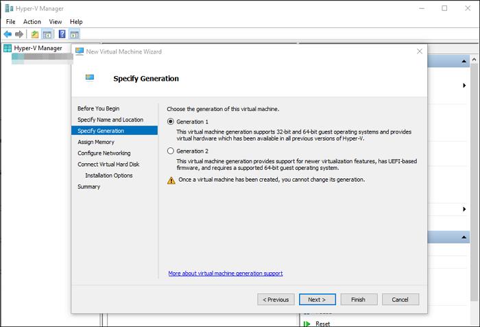 Hyper-V Generation Settings UEFI BIOS