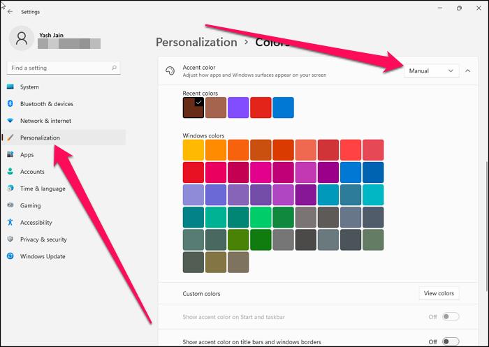 Select Accent Color Windows