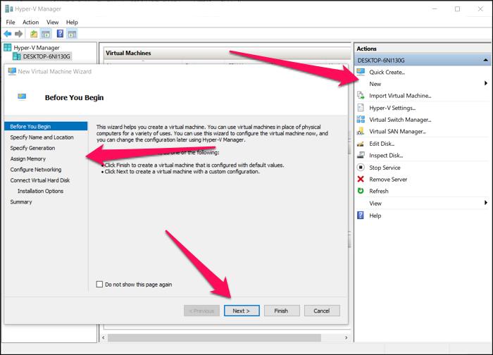 Set up New VM HyperV in Windows