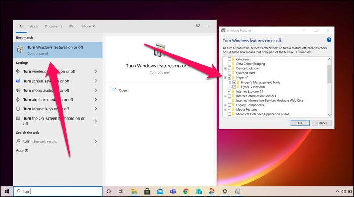 Turn on Hyper-V Windows