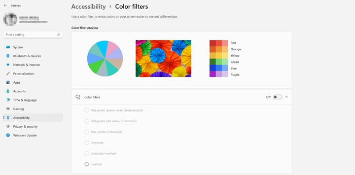 Windows 11 Color Filters Accessibility