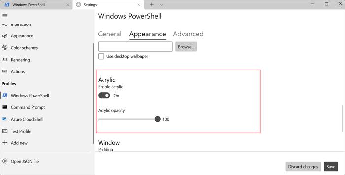 acrylic opacity Windows Terminal