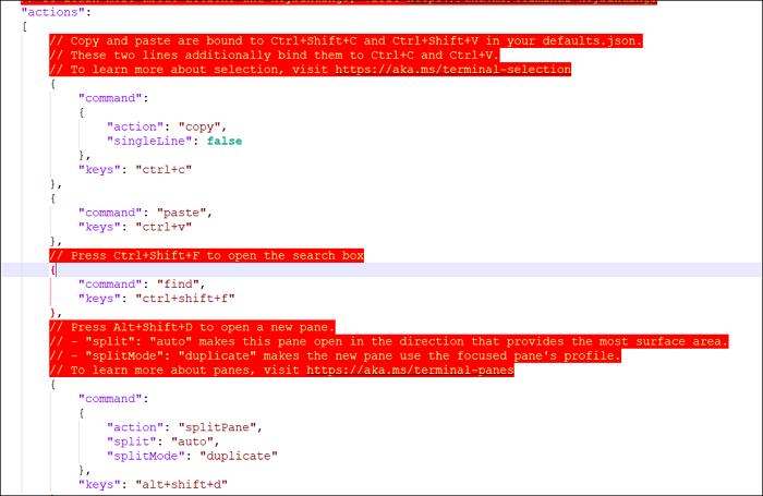add key bindings windows terminal