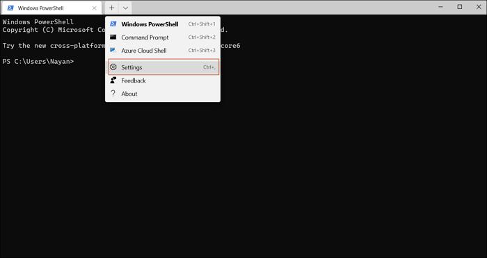 open windows terminal settings