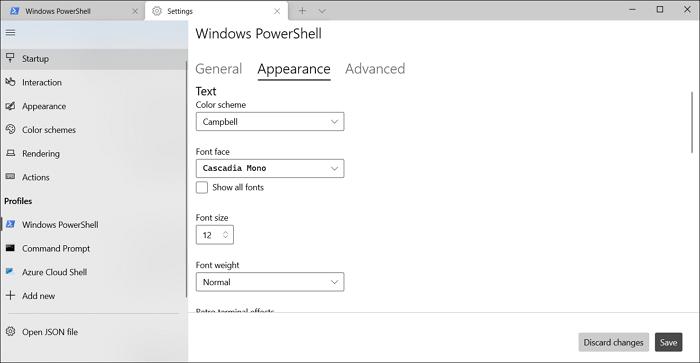 select font windows terminal