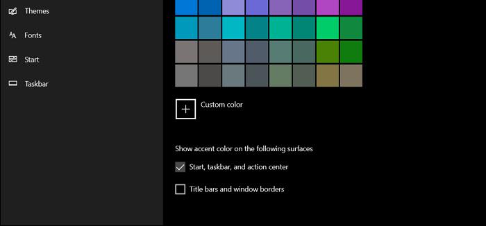 select start taskbar, and action center