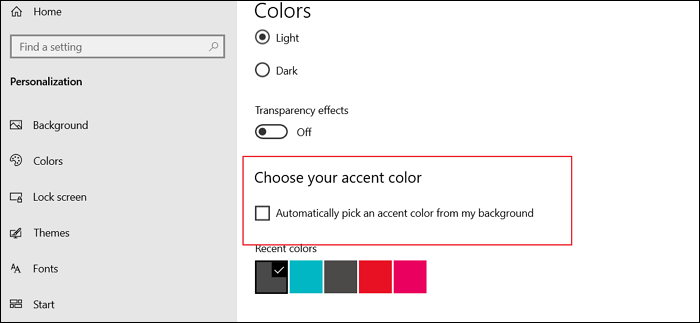 untick choose your accent color taskbar