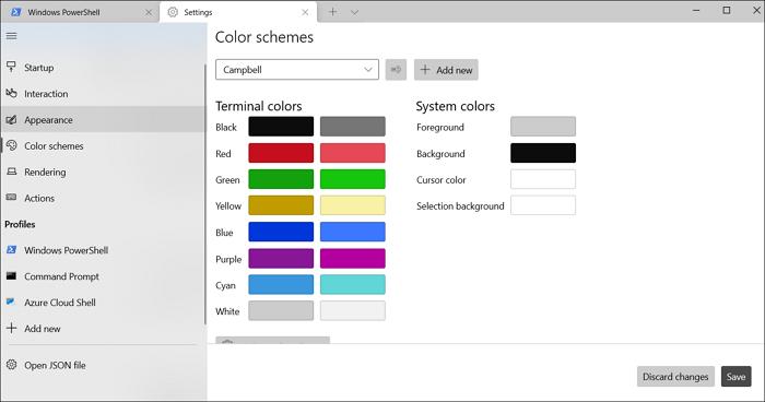 windows terminal color schemes