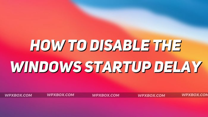 How to Enable or Disable the Windows Startup Delay (Windows 11/10)